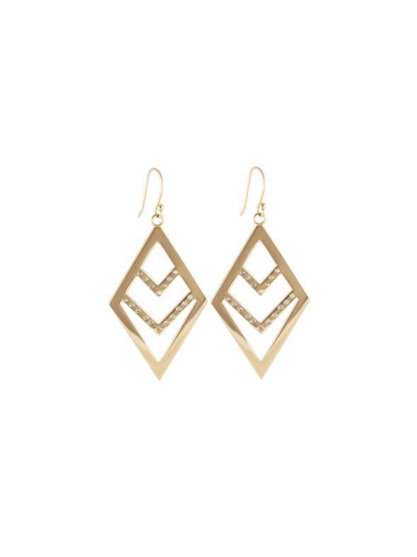 Gold Diamond Chevron Earrings