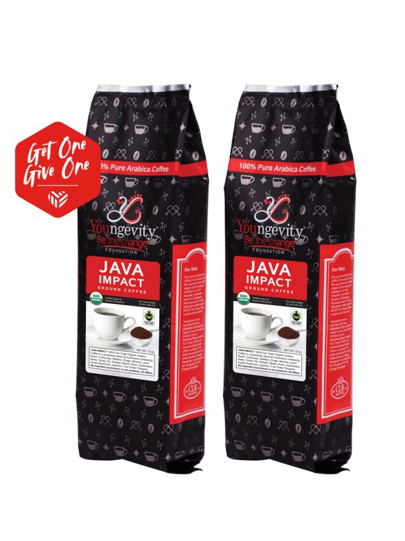 Be The Change Coffee - Java Impact Fair Trade Organic Coffee w/Mushrooms - Ground (12oz) [QTY: 2 | Get One, Give One FREE]